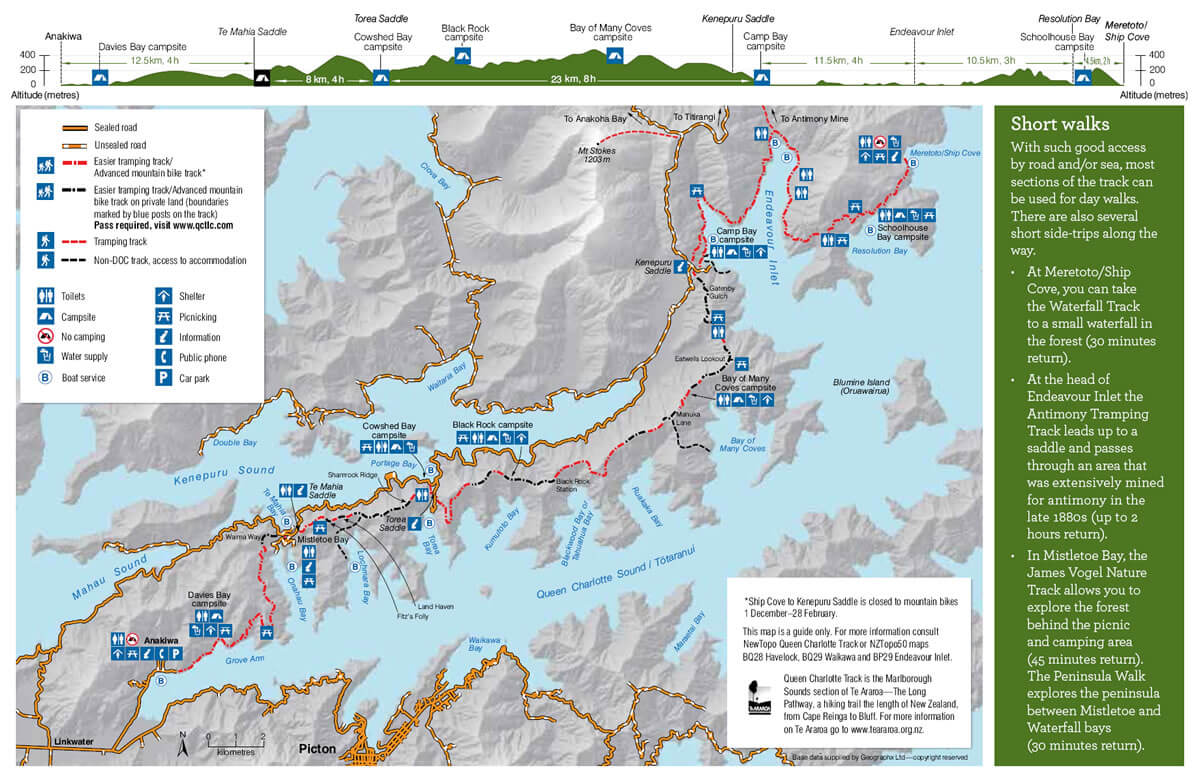 Map Of Queen Charlotte Track Shared By Piwaka Lodge And Backpackers
